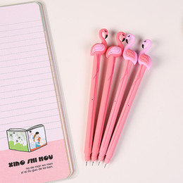Wholesale Art Service - Wholesale creative stationery cartoon lovely flamingos silicone 0.5mm black student neutral pen office stationery wholesale free service.