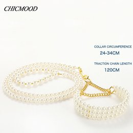 Wholesale Pearl Dog Collar - New Noble Pearl Pet Collar Leash Set Dog Collar Dog Leash Pet Supplies Collars For Small Dogs Free Shipping