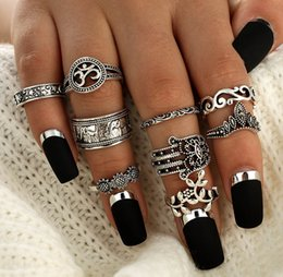 Wholesale Mechanical Finger Ring - New Fashion combination 9 pcs finger rings sets,ethnic Baroque styles,nice metal electroplate ring sets colours choose