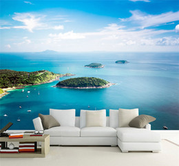 2019 paisajismo de estilo mediterraneo Estilo Mediterráneo Blue Sky Sea View Island 3D Wallpaper Hermoso paisaje de la naturaleza Photo Mural Living Room Bedside Home Decor paisajismo de estilo mediterraneo baratos