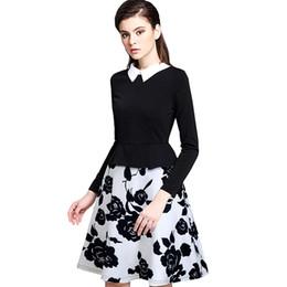 Grande robe à col en Ligne-Robe à manches longues décontractée pour femme Col rabattu Robe à imprimé floral élégante noir avec grande robe