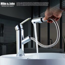 Wholesale Deck Mounted Shower Mixer Taps - Bathroom Pull out basin faucet bathroom water tap with sprayer shower head chrome pull down basin mixer