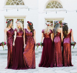 Wholesale Short One Shoulder Wedding Dresses - Burgundy Mismatched Sequins Tulle Long Bridesmaid Dresses 2018 Two Pieces Bridesmaid Dress Country Style Wedding Party Gowns Custom Made