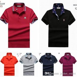 Wholesale Fashion Brands France - 2018 Fashion Men Chemise New Classic Brand Polo T-shirt Monclair T Shirt Short-Sleeved Mon Tee Polos British Monclar Hommes France Style