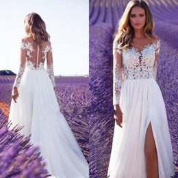 blue bohemian wedding dress Coupons - 2020 New Cheap Bohemian Lace Wedding Dresses Beach Sheer Neck Appliques Wedding Dress Long Sleeves Backless Bridal Gowns Robe de mariee