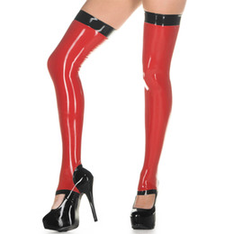 Wholesale Red Gothic Boots - 2018 exotic gothic women female handmade Latex red with black trim heel step-on-feet slim cekc Long Stockings Thigh boots Socks