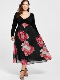 Wholesale large size night dresses - Gamiss 2018 New Fashion Plus Size Floral Print Empire Waist Midi Dress Women Vintage V Neck Long Sleeve Lady Large Dress 5XL