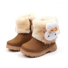 Argentina Niño Invierno Botas de nieve Zapatos Calor Felpa Suela suave Conejo de dibujos animados Diseño Niñas Botas Niños Bota de nieve Calzado # 17 Suministro