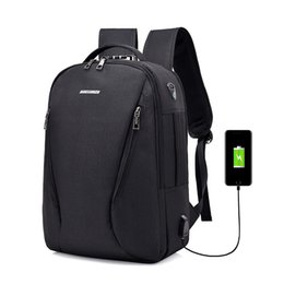 Wholesale solid plugs - Men Backpack Anti Theft Password LocBag Men Bag USB Charging Backpack With Headphone Plug Business 2018 New Travel Bag B288