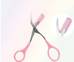 красота брови ножницы Скидка Eyebrow Shaping Cut Scissors Comb Hair Remover Beauty Scissors Shaver  Tools Hair Grooming cejas herramienta ceja tijeras