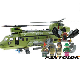 Wholesale Toy Soldiers Buildings - Heavy Bomber Building Block Sets Block Black Gold Military Series Helicopter Weapon Army Soldiers Bricks Children Toys 506Pcs