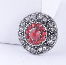 2019 красные браслеты Горячая продажа Snap кнопка металл красный с белым Кристаллом защелки Fit 18 мм кнопка Snap браслет ювелирные изделия дешево красные браслеты