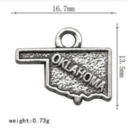 Chapado en plata antigua Estilo Vintage Charm Oklahoma Estado Mapa Aleación Metal DIY Fabricación de joyas desde fabricantes