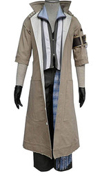 Cosplay fantasia final on-line-Cinza Longo Trench Coat dos homens de Final Fantasy 8 Pcs Set Cosplay