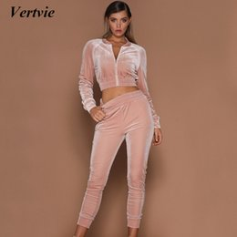 Wholesale white jumpsuit women long sleeve - Vertvie Brand Women's Velvet Tracksuit Running Fitness Sports Jumpsuits Outdoor Solid Long Sleeve Cardigan Sweashirt+Pants Suit