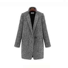 Sola ropa más tamaño online-Nueva ropa de invierno más el tamaño S-7XL chaqueta de lana hembra Botón único largo delgado tamaño grande abrigo de lana a cuadros moda mezcla de lana
