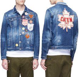 Мужская синий проблемных патч джинсовая куртка Coo парень носить эффект контрастные приложения нагрудные карманы для ковбоев от
