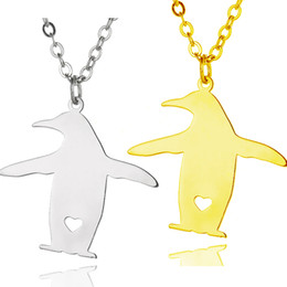 Wholesale Jewelry Penguin Pendant - Penguin Pendant Necklace popular shaped Gold Stainless Steel Polished Silver Women Fashion Jewelry Penguin Lover Gift Wholesale