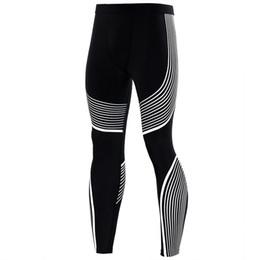 Homens, usando, leggings on-line-Atacado-Meias De Compressão Design Linha Colorida Calças Compridas Leggings De Fitness Homens Slim Fit Desgaste Joggers Exercício Calças De Culturismo