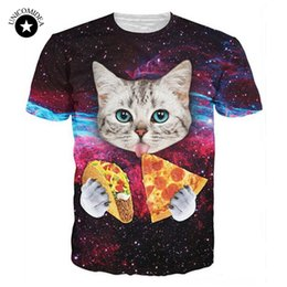 Wholesale Pizza Toppings - Galaxy Kitten T-Shirt Harajuku Cat Eat Pizza Tacos 3d Cat Tee Shirts Space Tshirt Streetwear Tops For Women Men Hip Hop Clothing