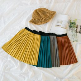 Wholesale Korean Style For Summer - 4 color 2018 NEW Korean style spring autumn All-match accordion pleated Kids girls skirt suit for age 2-8T Free Shipping