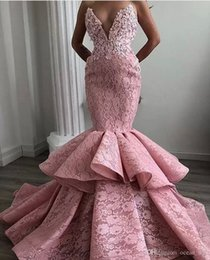 multi tier dress Coupons - New Dusty Pink Lace Prom Dresses Sexy Sweetheart Mermaid Evening Gowns Ruffles Tiers Women Formal Party Dress Vestidos Custom Made