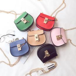 Wholesale Korean Chain Bag - Baby Kids Purses Children's Handbag Korean Style Baby Girls Fashion PU Leather Golden Chain Bag Kids Mini Crossbody Bags 6Colors