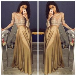 Wholesale Cheap Empire Line Tops - Sheer 2018 Lace Appliques Top Long Sleeves Gold Two Piece Prom Dresses 2018 Satin Cheap Formal Vestidos De Soiree Custom Pleated