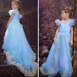 Wholesale Tulle Puff Flowers - Light Sky Blue Princess Flower Girls Dresses For Weddings Off The Shoulder Appliques Tulle Puff Sleeves Corset Girls Pageant Dresses