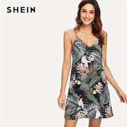 b985813db33 20187 SHEIN Multicolor Vacation Backless Bohe Bohemian Beach Tropical Print  Deep V Neck Cami Straight Dress Summer Women Sexy Dress
