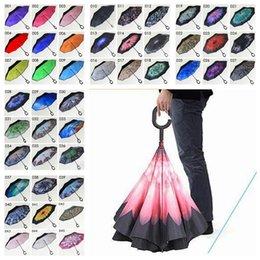 Wholesale Rainy Umbrella - High Quality Windproof Reverse Folding Umbrella Double Layer Inverted Umbrella Inside Out Rain Protection C-Hook Hands Umbrella