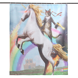 Wholesale Funny Fabrics - Wholesale-HOT Cartoon Funny Unicorn and Cat Polyester Fabric Waterproof Shower Curtain 150x180cm Bathroom Decor Gift
