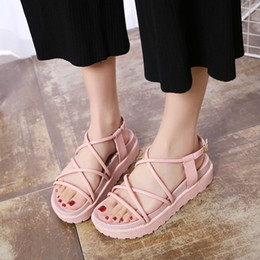 Wholesale Patent Wedge Pump - Women Platform Sandal 2018 New Version Lady Sexy Strappy Buckle Summer Pumps Size 6-8 High Quality Anti-slip Soft Low Heels 2 Colors