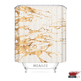 modern shower curtain Promo Codes - [MIAOJI] Bathroom High Quality Printed Golden Luxury Exquisite Shower Curtain Multi Sizes Bath Curtain Decor Free Shipping