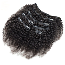 clip human hair extensions remy 24 UK - Kinky Curly Clip In Human Hair Extensions 7Pcs Set Nautral Color Clip-in Full Head 7 Pcs Remy Hair 4B 4C 3B 3C