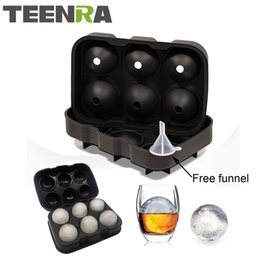 Wholesale large plastic balls - 1pcs Large Size 6 Cell Ice Ball Mold Silicone Ice Cube Ball Tray Whiskey Ice Ball Maker 6 Silicone Molds Maker For Party Bar