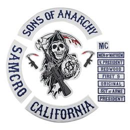ropa de california Rebajas CALIFORNIA bordó Sons Of Anarchy Iron en los remiendos para la ropa del motorista chaleco de la chaqueta envío gratis