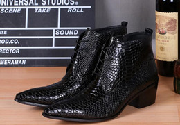 Abito militare nero online-New Brands Black Pointed Toe pelle di serpente in vera pelle stivali da uomo calzature invernali stivali militari scarpe Tacco alto stivaletti