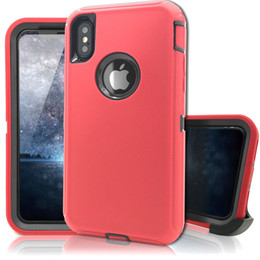 Wholesale Military Clips - For Apple iPhone X Case Hybrid Heavy Duty Defender Military Grade Shockproof Armor High Impact Resistant TPU Bumper Cover Belt Clip