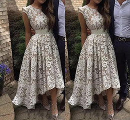 Wholesale beautiful bones - Beautiful Full Lace Jewel Neck Hi lo Prom Dresses 2018 Sleeveless Formal Party Gowns Short Bridal Guest Gowns For Bridesmaid Pageant Dresses