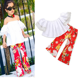 Wholesale Flower Pants Outfits - Kids Girls Sets 2-7T Baby Girl Lace Shirts + Flower Flare Pants 2pcs Suits 2018 New Spring Infant Princess Outfits Children Clothes D401