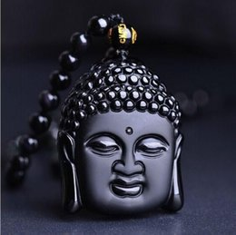 Wholesale Hand Carved Buddhas - 100% Volcanic Protective Obsidian Buddha Pendant Necklace - Hand Carved