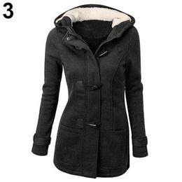 2020 casaco de botão de chifre de mulher Mulheres Moda Casaco de Inverno Casaco Parka Chifre Botões Casual Grosso Com Capuz Outwear casaco de botão de chifre de mulher barato