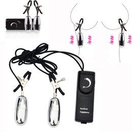 Clip donna sesso online-Morsetti per capezzoli a vibrazione multi velocità Clip per capezzoli elettrici stimolatore per vibratore Massaggiatore Giocattoli erotici per donne Prodotti per adulti