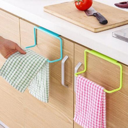 Wholesale Free Kitchen Cabinet - kitchen Towel Hanging Rack Holder Rail Organizer Free Nail Door Back Rack Bathroom Kitchen Cabinet Cupboard Hanger