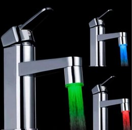 Wholesale Led Water Faucet Temperature Light - New Fashion LED Water Faucet Stream Light 7 Colors Changing Glow Shower Tap Head Kitchen Temperature Sensor hot selling
