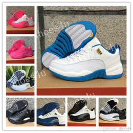 Wholesale Hottest Game Online - Hot retro 12 Low mens basketball shoes wool mens sneaker Black Nylon Blue Suede discount shoes flu game french blue sports shoes online