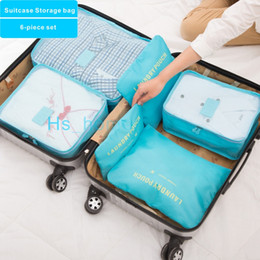 fold beds Coupons - High quality New 6-piece set Multifunction Foldable Trunk Suitcase Storage bag Shirt Sundries Data line Washing storage bag 8 colors.
