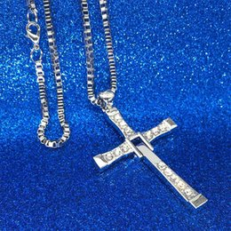 Wholesale Men Cross Pendant Necklace - 2018 The Fast And The Furious Dominic Toretto Vin New Movie Jewelry Classic Rhinestone Pendant Sliver Cross Necklaces Men 162676