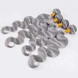 graues schwarzes reines haar Rabatt Brasilianische Wasserwelle bündelt reines silbernes graues Haar webt graues Haar spinnt 100% menschliches Jungfrau-Haar-Einschlagfaden für schwarze Frauen